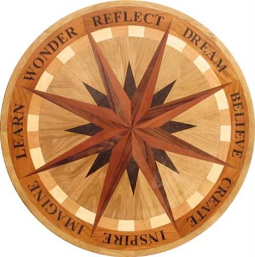 Ipwm 605 word star hardwood medallion for Wood floor medallion designs