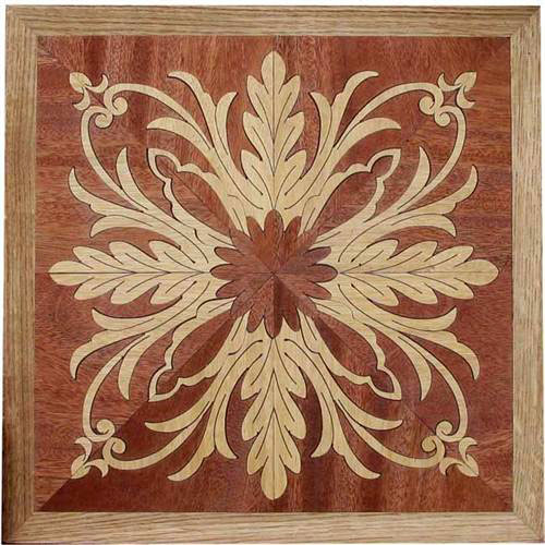 Pl 505 S Floral Square Hardwood Panel Inlay