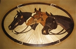 IPWM-622 Three Horses | Hardwood Medallion